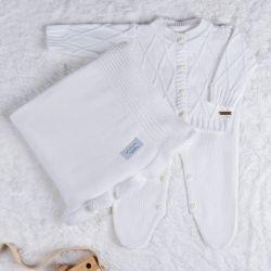 Saída Maternidade Tricot Cardigan Branco Chantilly 03 Peças