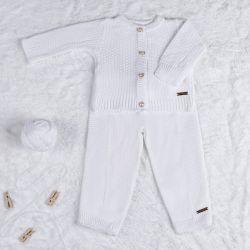 Saída Maternidade Tricot Calça e Casaquinho Branco Chantilly 02 Peças