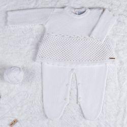 Saída Maternidade Tricot Vestido com Pérolas Branco 02 Peças