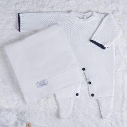 Saída Maternidade Tricot Ponto Arroz Branco e Preto 02 Peças