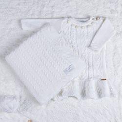 Saída Maternidade Tricot Vestido Pompom Branco Chantilly 02 Peças