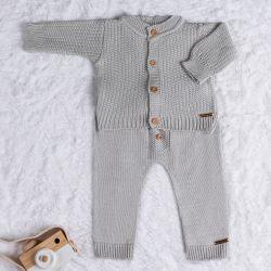 Saída Maternidade Tricot Conjunto Clássico Cinza Macaron 02 Peças