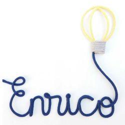 Nome Tricotin Personalizado Balão Amarelo e Azul Marinho (até 6 letras)