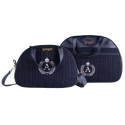 Conjunto de Mala e Frasqueira Maternidade Personalizado Tricot Azul Marinho 02 Peças