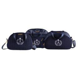 Conjunto de Mala, Frasqueira e Bolsa Maternidade Personalizado Tricot Azul Marinho 03 Peças