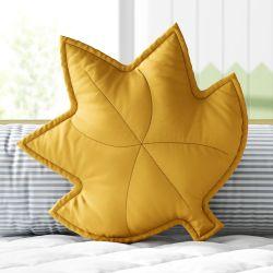 Almofada Folha de Outono Amarelo Mostarda 38cm