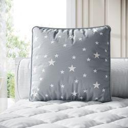 Almofada Quadrada Estrela Cinza 38cm