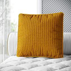 Almofada Quadrada Tricot Colmeia Amarelo Mostarda 38cm