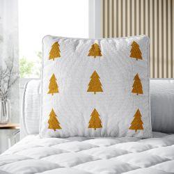 Almofada Quadrada Tricot Pinheiro Escandinavo Amarelo Mostarda 38cm