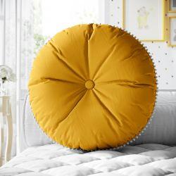 Almofada Redonda Botão e Pompom Amarelo Mostarda 30cm