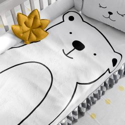 Manta Bebê Tricot Urso Branco e Preto 1m