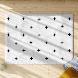Tapete Retangular Cruz Escandinava Preto e Branco