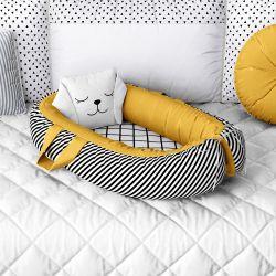 Ninho para Bebê Redutor de Berço Luli Preto, Branco e Amarelo Mostarda
