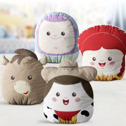 Almofadas Amiguinhos Toy Story Woody, Bala no Alvo, Buzz Lightyear e Jessie