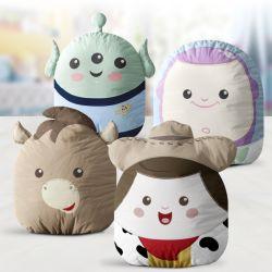 Almofadas Amiguinhos Toy Story Buzz Lightyear, Alien, Woody e Bala no Alvo