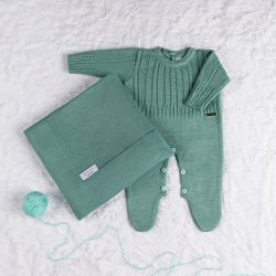 Saída Maternidade Tricot Trança Macacão Verde Pistache 02 Peças