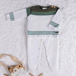 Saída Maternidade Tricot Listra Branco e Verde 02 Peças