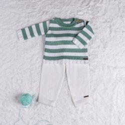 Saída Maternidade Tricot Sueter Neutro Chic Verde e Branco 02 Peças