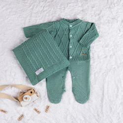 Saída Maternidade Tricot Cardigan Verde Pistache 03 Peças