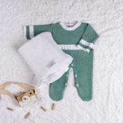 Saída Maternidade Tricot Macacão Verde Pistache 02 Peças