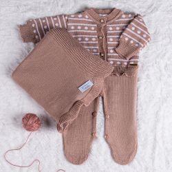 Saída Maternidade Tricot Clássico Poá Nude Rosé 03 Peças