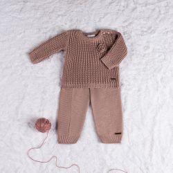 Saída Maternidade Tricot Menina Flor Nude Rosé 02 peças