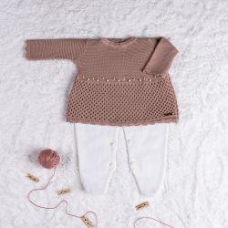 Saída Maternidade Tricot Vestido com Pérolas Nude Rosé 02 Peças
