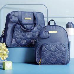 Conjunto de Mochila e Bolsa Maternidade Chuva de Amor Azul Marinho