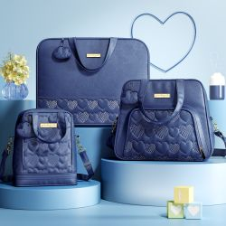 Conjunto de Mala, Bolsa e Frasqueira Maternidade Chuva de Amor Azul Marinho