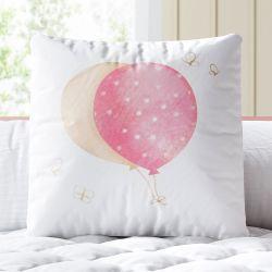 Almofada Quadrada Balões e Borboletinhas Rosa e Bege 33cm