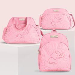 Conjunto de Mochila, Bolsa e Frasqueira Maternidade Elefantinha Rosa