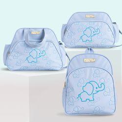 Conjunto de Mochila, Bolsa e Frasqueira Maternidade Elefantinho Azul