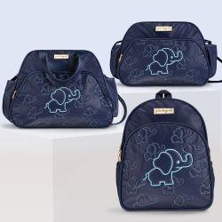 Conjunto de Mochila, Bolsa e Frasqueira Maternidade Elefantinho Azul Marinho