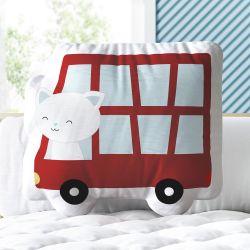 Almofada Gato no Ônibus Vermelho 33cm