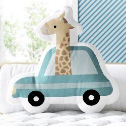 Almofada Girafa no Carrinho Verde 33cm
