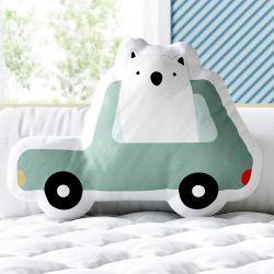 Almofada Urso Polar no Carrinho Verde 33cm
