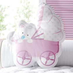 Almofada Gatinha Bebê Rosa 33cm