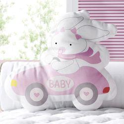 Almofada Coelhinha Motorista Baby Rosa 33cm