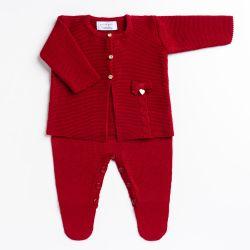 Saída Maternidade Tricot Macacão e Casaquinho Lacinho Vermelho 02 Peças