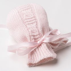 Luvas para Bebê Tricot Trança Rosa