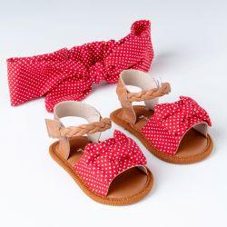 Sandália de Bebê com Faixa de Cabelo Maxi Lacinho Poá Vermelho
