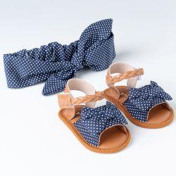 Sandália de Bebê com Faixa de Cabelo Maxi Lacinho Poá Azul Marinho