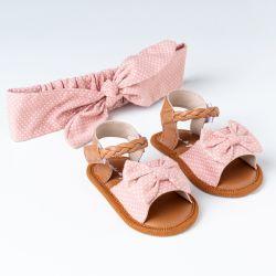 Sandália de Bebê com Faixa de Cabelo Maxi Lacinho Poá Rosa