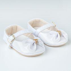 Sapatinho de Bebê Dorothy Laço e Strass Verniz Branco