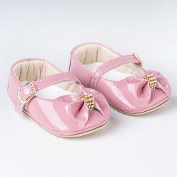 Sapatinho de Bebê Dorothy Laço e Strass Verniz Rosa