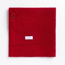 Manta Bebê Tricot Lacinho Vermelho 80cm