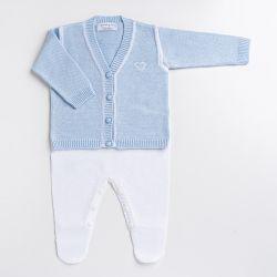 Saída Maternidade Tricot Macacão e Casaquinho Teddy Azul 02 Peças