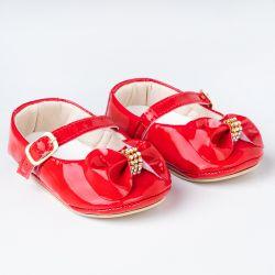 Sapatinho de Bebê Dorothy Laço e Strass Verniz Vermelho