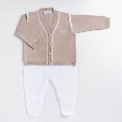 Saída Maternidade Tricot Macacão e Casaquinho Teddy Bege 02 Peças