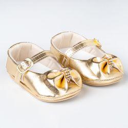 Sapatinho de Bebê Dorothy Laço e Strass Verniz Dourado